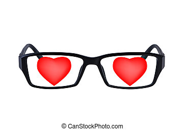 Eye glasses with hearts isolated. - Eye glasses with hearts...