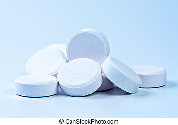 Tablets close up. Theme of Medicine and Health. Macro...