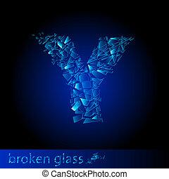One letter of broken glass - Y. Illustration on black...