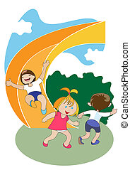 Children on the slide - Group of preschool-age children ride...