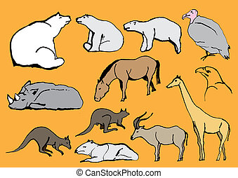 Line Drawing Exotic Animals - icon, animals