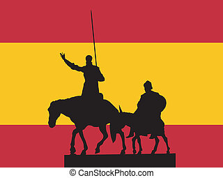 Madrid - silhouette of Madrid on flag background