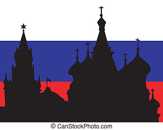 silhouette of Moscow on Russia flag background