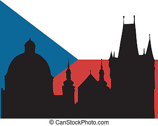 silhouette of Prague on Czech flag background