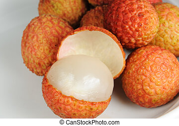 Litchi on the white plate