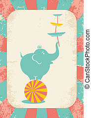 elephant on the ball - Illustration of an elephant on the...