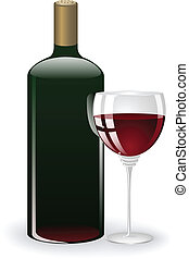 glass and a bottle of wine - bottle and glass with red wine...