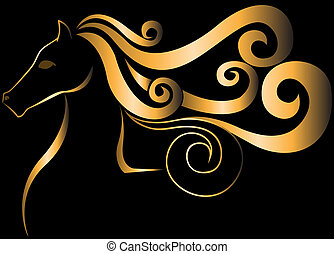 Golden Horse - stylized silhouette of a golden horse head