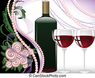 Holiday Arrangement - wine glasses on a black background...