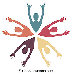 Colorful loving people vector - Colorful loving people in...