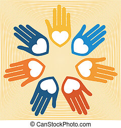 United hands and hearts vector - United hands and hearts on...
