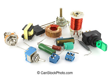 Old electronic components over white
