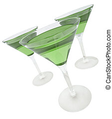 Green drinks - Three green drinks in martini glasses. 3D...
