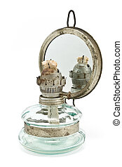 Old oil lamp with mirror