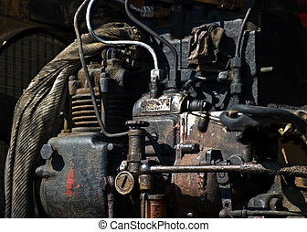 Old engine - Old rusty engine of a bulldozer