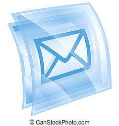 postal envelope icon blue, isolated on white background