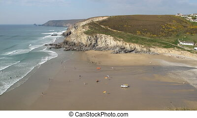 Porthtowan beach time lapse - Incoming tide time lapse,...