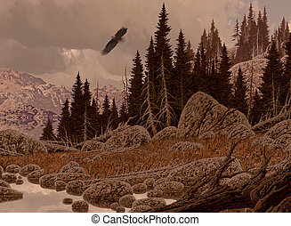 Bald Eagle Soaring - A Rocky Mountain landscape scene with...