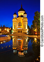 Night view of Orthodox cathedral from Cluj Napoca, Romania