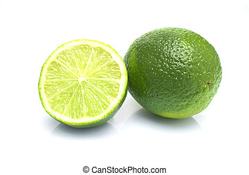 Limes - pair of limes, one cut in half to show cross section