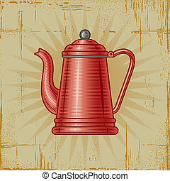 Retro Coffee Pot - Retro coffee pot in woodcut style...