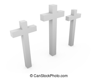 Three crosses over a white background. Christianity, faith...