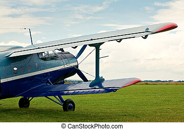 Retro sport airplane - Vintage single-engine biplane...