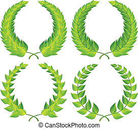 Green laurel wreaths pattern design, vector illustration
