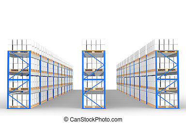 Warehouse Shelves, Front view with