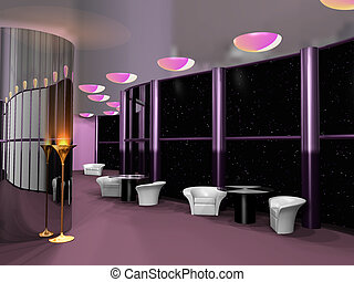 Cosmic cafe interior - Interior of modern cosmic cafe, 3d...