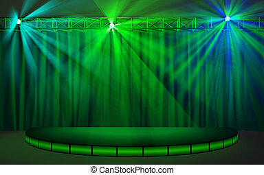 Empty stage with green curtain and - Empty stage with green...