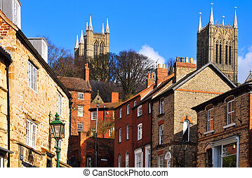 A street in the old downtown area of Lincoln, England...