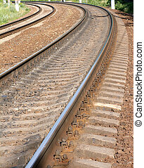 Two railroad ways on concrete ties - Two railroad ways on...