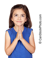 Angelic little girl isolated on a over white background