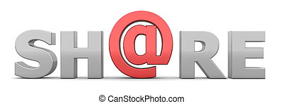AT Share - Grey and Red - glossy grey word SHARE - letter a...