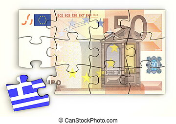50 Euro Note Puzzle And a Greek Piece - 50 Euro note from...