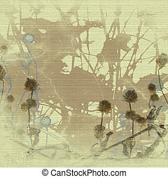 Grunge seed head and branch print - Grunge seed head and...