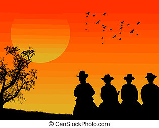 Cowboys silhouette galloping against a sunset background,...