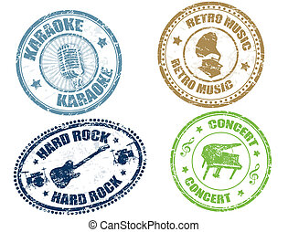 Music stamps - Set of music grunge rubber stamps, vector...