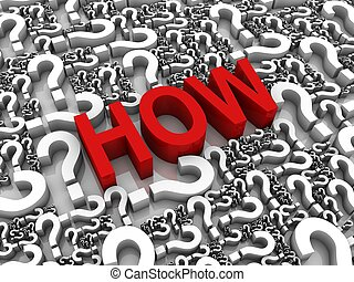 """Ask How - """"HOW"""" 3D text surrounded by question marks. Part..."""