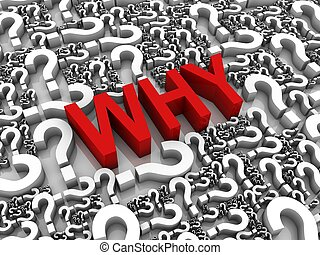Ask Why - WHY 3D text surrounded by question marks Part of a...