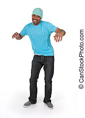 Funny guy in a blue t-shirt dancing, isolated on white...