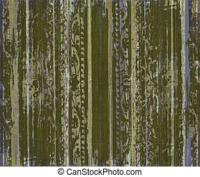 Grungy green scroll work wood stripes textured background