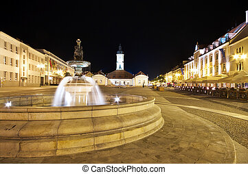 Bialystok at night, Poland - Bialystok with fountain at...