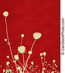 Long-stemmed meadow flower silhouette on red background