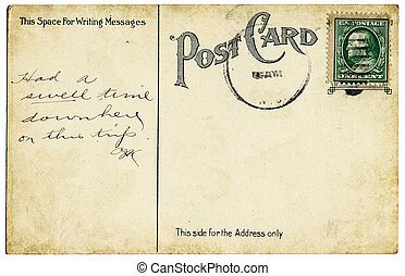 Old Vintage Postcard - An old, vintage postcard back from...