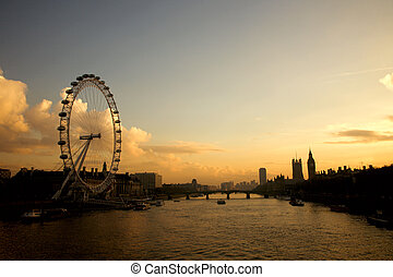 London Landscape Westminster and London Eye - Westminster...