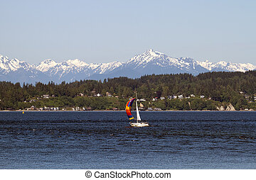 Colorful Sailboat on Puget Sound Olympic Peninsula Seattle...