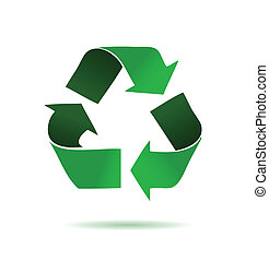 Green recycling logo over a white background ill