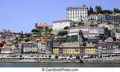 Douro river architecture scenic view in Porto Portugal.
